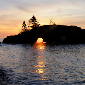 Sunrise at HollowRock by Sandra Updyke - Landscapes Waterscapes ( hollow rock, north shore, lake superior, sunrise, lake superior sunrise )