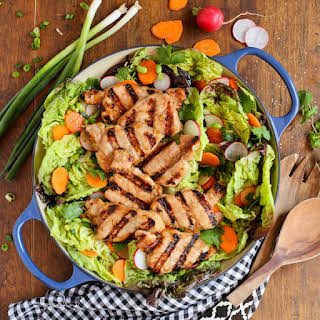 Grilled Asian Pork Tenderloin Salad with Honey-Ginger Vinaigrette.