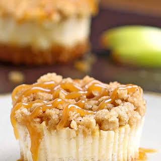 Caramel Apple Crisp Mini Cheesecakes.