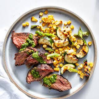 Grilled Hanger Steak With Charred Succotash.