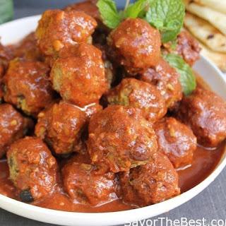 Moroccan Lamb Meatballs in Spicy Tomato Sauce.