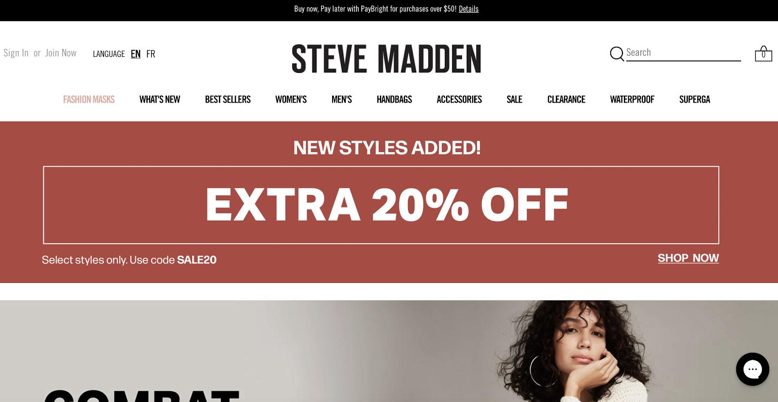 Steve Madden homepage screenshot