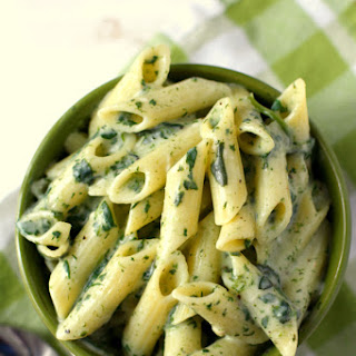Pasta with Creamy Spinach Sauce.