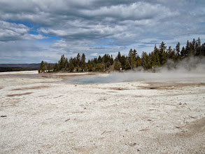Photo: Arriving at the location of many geysers.. this is the area around the Paint Pot.