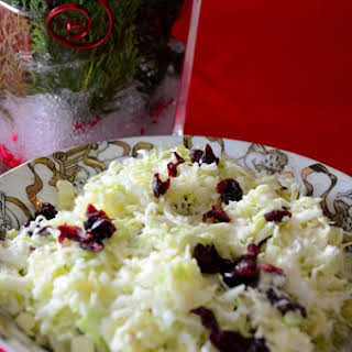 Creamy Sweet and Sour Cole Slaw With Cranberries.