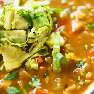 Spicy Lentil and Brussels Sprout Soup.