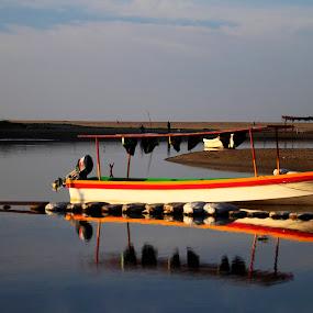 waiting.. by Cristobal Garciaferro Rubio - Transportation Boats ( water, reflectio, boat, river )