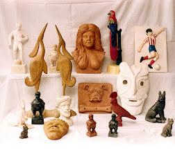 Photo: Exceptuando las garzas, todas las figuras de esta imagen están realizadas en arcilla, escayola o Yeso Duro. En realidad todas fueron modeladas originariamente en arcilla, pero para las figuras de escayola o Yeso Duro se preparó un molde de látex con el que finalmente fueron efectuadas ; es por ello que en la foto alguna de las figuras se ve por duplicado. || Talla en madera. Woodcarving.   Puedes conocer más de este artista en el blog: http://tallaenmadera-woodcarving-esculturas.blogspot.com/