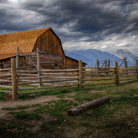 Barn view by Walt Mlynko - Buildings & Architecture Decaying & Abandoned ( yellowstone, oxbow bend )