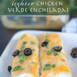 Crowd Pleasing Lighter Verde Chicken Enchiladas.