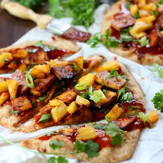 Pineapple & Smoky Baked Tofu Pizza with Spicy Hoisin Barbecue Sauce.