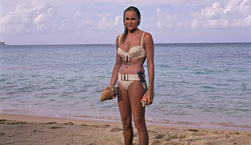 Ursula Andress during the shooting of the James Bond flick