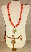Photo: <BEREHYNYA> {Great Goddess Protectress} unique one-of-a-kind statement jewellery by Luba Bilash ART & ADORNMENT  # 117 AYANA (God answers her - Eritrean) ~ АЯНА - brass Eritrean cross, coral, brass, 14K gold vermeil $140/set SOLD/ПРОДАНИЙ