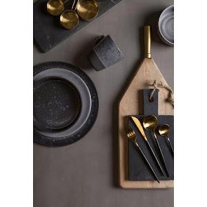 Set 4 tacamuri DeLuxe Auriu/Negru, 28.3 x 14.7 x 4.5 cm