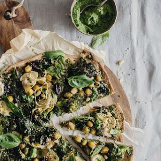 Very Green Vegan Flatbread Pizza.