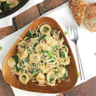 Orecchiette with Sausage and Spinach.
