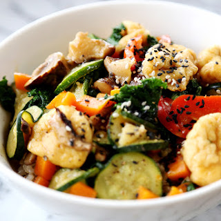 Rice Bowl with Tofu Puffs, Zucchini and Carrots