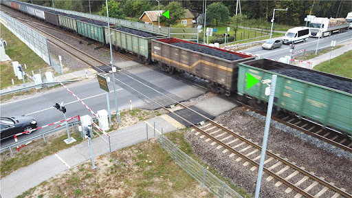 Cepton's lidar sensors are installed at the busy level crossing to monitor a complicated traffic scenario. ©Belam. Photo Credit: Belam