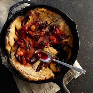 Peach Dutch Baby Pancake with Cherry Compote