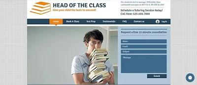 A student holding a pile of books: Head of the class example of an educational site