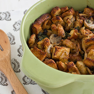 Gluten-Free Stuffing with Kale, Caramelized Onions, and Mushrooms.