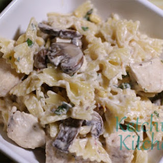 Chicken Farfalle w/ Sundried Tomato Mushroom Garlic Cream Sauce