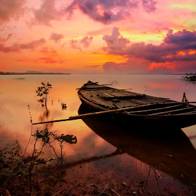 Cloudy Sunset by Subir Majumdar - Landscapes Waterscapes ( sky, waterscape, sunset, boat, landscape )