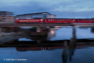 Photo: NSB night train rolling out of Trondheim station a light summer evening, to spend the night on the Nordland line towards Bodø