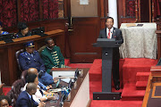 King Goodwill Zwelithini addresses the KZN legislature at its official opening on June 27 2019.