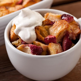 Strawberry Bread Pudding with Crème Fraîche Whipped Cream.
