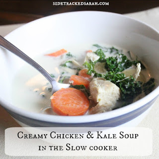 Creamy Chicken & Kale Soup Recipe for the Slow Cooker.