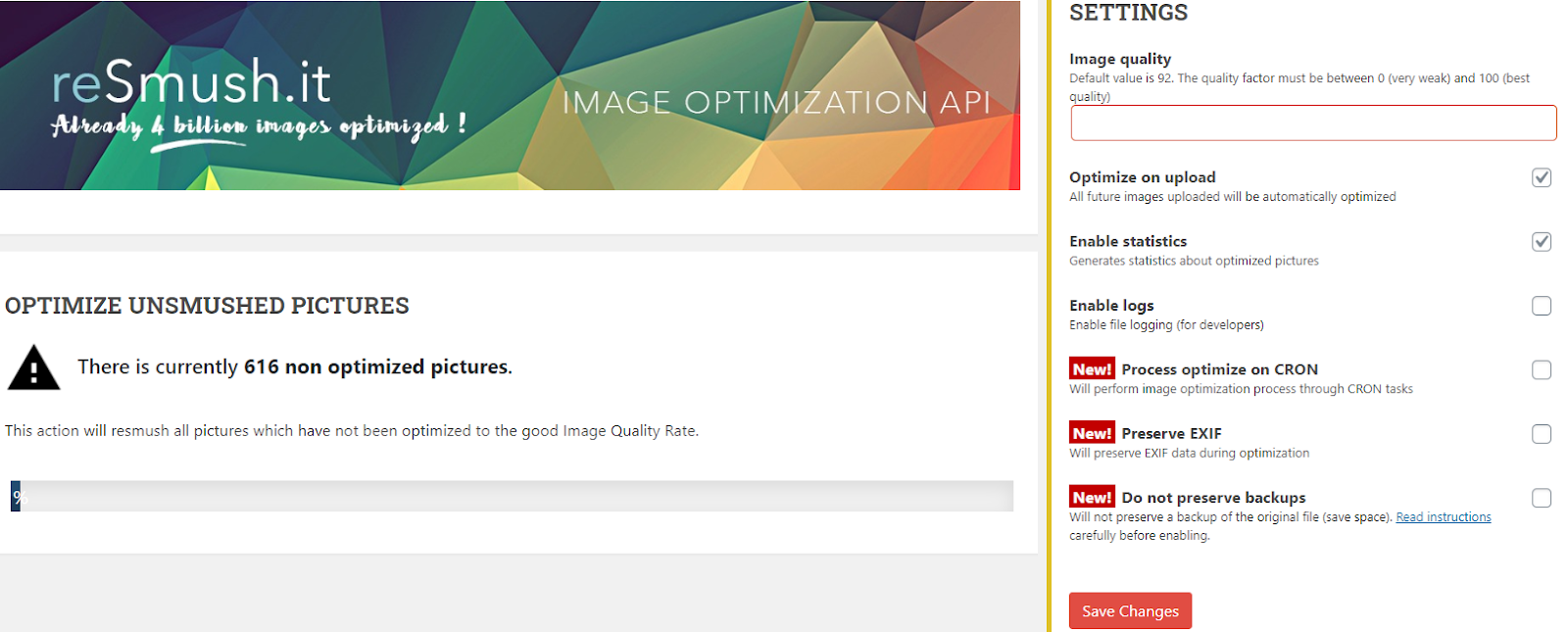 reSmush IT image optimization plugin for WordPress
