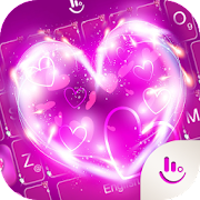 Neon Pink Hearts Keyboard Theme