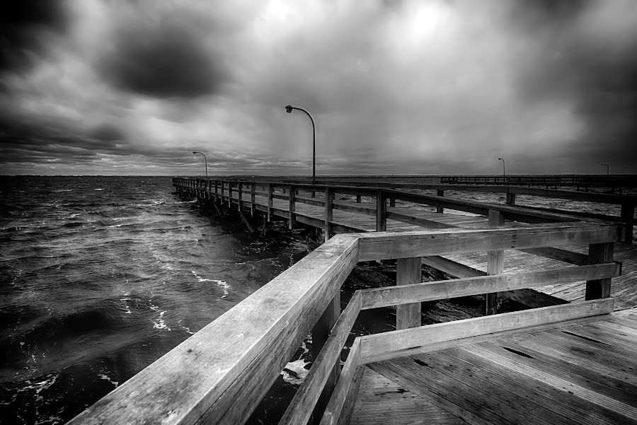 Stormy Skies by Linda Karlin - Black & White Landscapes ( b&w, seascape, storm, landscape )