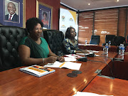 Mpumalanga premier Refilwe Mtsweni-Tsipane and health MEC Sasekani Manzini speaking to the media on Tuesday. Mtsweni-Tsipane said the woman from Malalane travelled to Orlando, Florida, in the US with her husband via Dubai.