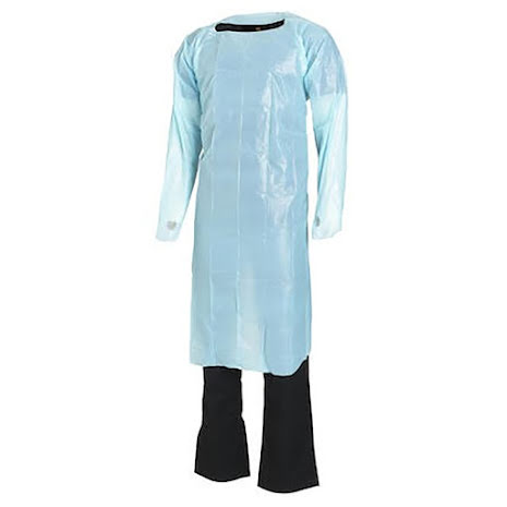 Förkläde PE Blå med ärm 980 x1200mm Worksafe 20 st/frp