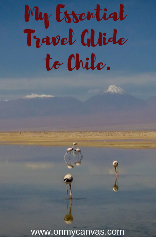 flamingoes in atacama desert in chile being used as a pin for travel guide to chile
