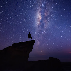 Chatching stars by Christianto Mogolid - Landscapes Starscapes ( milk way, stars, landscape, kudat, sabah, starry )