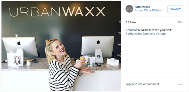 A local waxing salon offers free mimosas while their customers wait.
