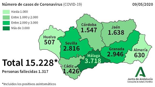 Imagen difundida por la Junta de Andalucía de los datos sobre el coronavirus de este sábado.