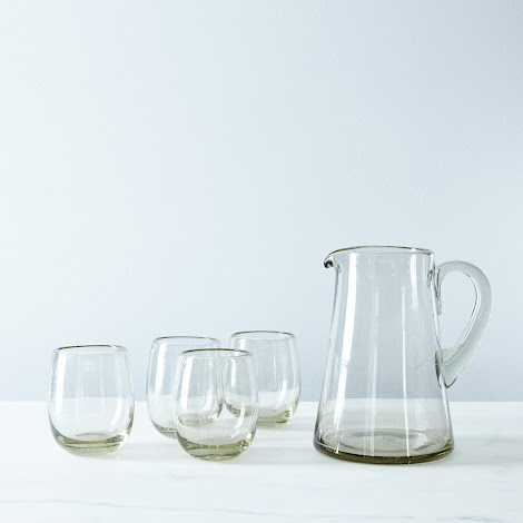 Recycled Glass Pitcher & Tumblers