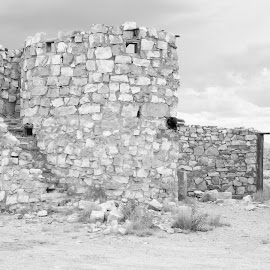 Two Gun  Arizona by Jo Gonzalez - Black & White Buildings & Architecture ( very old, old, two gun, disappearing, ghost town, buildings, town,  )