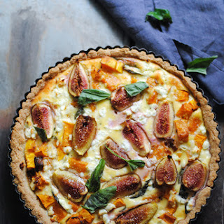 Gluten Free Pumpkin, Basil, Goats Cheese And Fig Tart