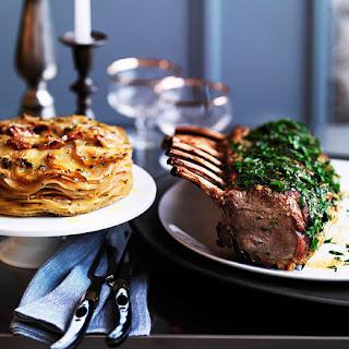 Mustard-crusted Veal Rack With Potato And Celeriac Gratin.