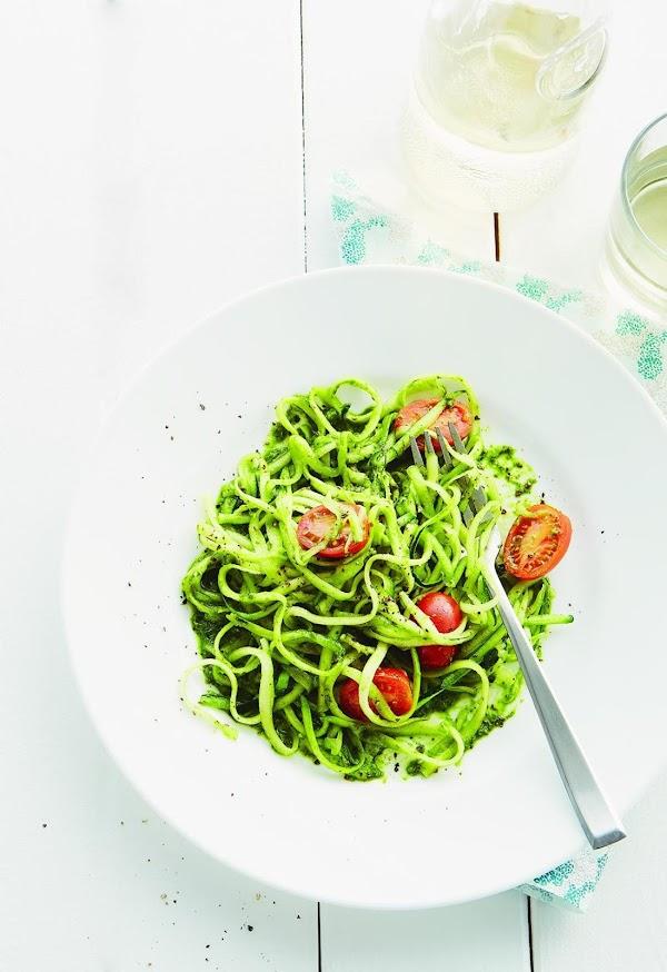"""Zucchini """"pasta"""" With Pesto Recipe"""