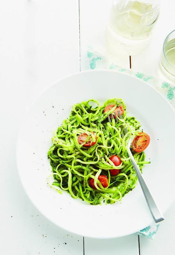 "Zucchini ""pasta"" With Pesto Recipe"