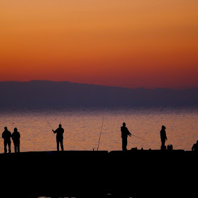 Fishing at sunrise by Robin Rawlings Wechsler - Landscapes Sunsets & Sunrises (  )