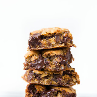 Whole Wheat Oatmeal Molasses Dark Chocolate Gooey Bars