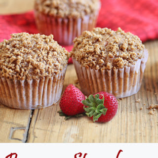 Whole Wheat Banana Strawberry Crumb Muffins