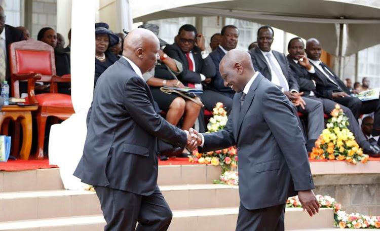 Baringo Senator Gideon Moi and Deputy President William Ruto during Jonathan Moi's funeral on Saturday, April 27, 2019